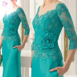 Vestidos de noiva cintura império on-line-Chique Plus Size Mãe Dos Vestidos de Noiva 2019 Nova Bainha Colher Pescoço Império Cintura Mãe Do Noivo Vestido de Noite Até O Chão Vestidos de Cetim