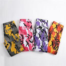 Розовые брюки для мужчин онлайн-Dropshipping Orange Pink Camouflage Cargo Pants Men Women High Quality Hip Hop Overalls Pants Couple Camo Sweatpants Clothes