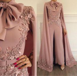 2019 vestido novo vestido vermelho Elegante Vestido de Noite Muçulmano 2019 Blush Rosa Lace Apliques Frisado Calças Evening Dubai Árabe Mangas Compridas Vestido Formal
