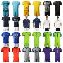 camisa branca do futebol de france Desconto França Goleiro GK goleiro de futebol 1 Hugo Lloris Jersey Set 16 Steve Mandanda 23 AREOLA Futebol shirt Kits Uniforme Preto Amarelo Azul Branco
