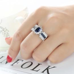 Лорд кольца кристалл онлайн-Модные Синие Кольца CZ для Женщин Обручальное Кольцо Bague Princess Blue Crystal Каменное Кольцо Властелин Колец AnilloJewelry