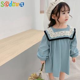 Korean roupas de bebê marcas on-line-Sodawn 2019 coreano estilo outono marca novas crianças roupa do bebê Meninas de linho vestido de rendas colarinho Toddlers crianças princesa Vestidos