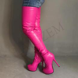 Botas de gran tamaño para mujer online-LAIGZEM Mujeres Muslo Botas altas Fiesta del Club Show Sobre la Rodilla Botas de la entrepierna Zapatos Mujer Mujer Bota Botines Mujer Tamaño grande 4-19