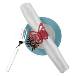 venta al por mayor suministros de recepción de boda Rebajas 50 PC / mariposa preciosa servilleta de papel Anillos fuentes para el partido decoración de la boda DTT88