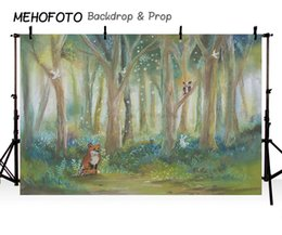 forest background backdrops Promo Codes - MEHOFOTO Birthday Backdrop Photography Rustic Oil Forest Animals Fox Jungle Theme Children Background Customize Photocall