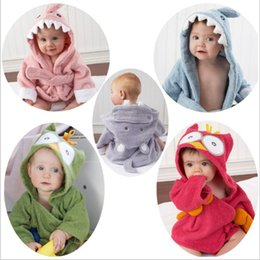 towels shower baby Promo Codes - Animal Bathrobe Baby Shark Robes Toddler Bath Towels Newborn Cloak Hooded Pajamas Cartoon Shower Towel Nightgown Terry Wrap Poncho LT453