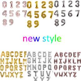 """Mezcla de globos de aluminio online-16 """"número de globo de aluminio y alfabeto estilo nuevo oro / plata / oro rosa orden mezclada"""