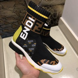 Argentina 2018Fendi Rockoko High Top Sock Sneaker Yellow Mujer Negro Glitter Sock Sneakers Botas Zapatillas de deporte de moda MSRP con caja Suministro