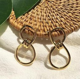 valentine gift jewelry Promo Codes - Luxury designer jewelry CC earrings Simple Smooth lines Earrings with knotted studs women banquet jewelry Valentine gift
