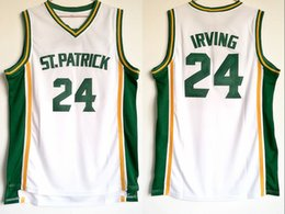 fans for sale Promo Codes - Free Shipping 24 Kyrie Irving High School ST Patrick Jerseys Men For Sport Fans Breathable Irving Basketball Jerseys Team Color White Sale