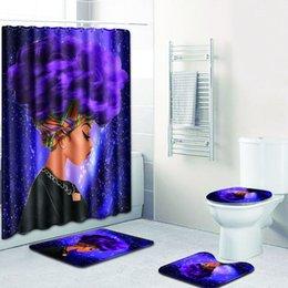 Alfombras estampadas online-Moda mujer africana patrón de poliéster conjunto cortina de ducha alfombras antideslizantes alfombra para baño WC baño de franela estera conjunto 4 unids /