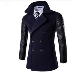 Billige lange wollmäntel online-Günstige Herren Trenchcoat Mode Wolle mit langen Mantel der Männer, Winter Trenchcoat Männer, Gabardinas Para Hombre