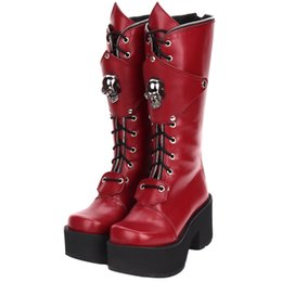 red skull shoes Promo Codes - Fashion Winter Women High Heels Platform Lolita Boots Zipper Skull Punk Muffin Shoes Female Large Size Gothic High Boots