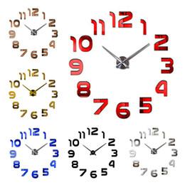 Canada 2018 Nouvelle Mode Design Moderne À Quartz Aiguille Horloge Murale Grand 3d Miroir Acrylique Autocollants Horloge Montre Diy Salon Décor À La Maison supplier wall clock decor mirrors Offre