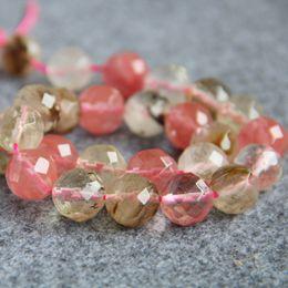 rosa turmalin perlen Rabatt 14mm rosa Wassermelone Turmalin Steine Ball Geschenke lose DIY Korn-Schmucksachen, die Zubehör-Crafts-Halsketten-Armband