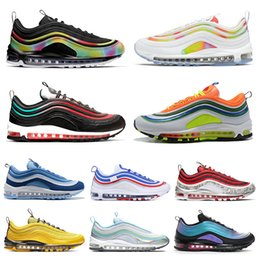 Tênis de uva on-line-Nike Air Max 97 97s Shoes Iridescente Mens Running Shoes All-Star Jersey Ter um Dia Grape Metallic Pack Triplo Branco Preto Mulheres Athletic Sports Sneakers 36-45