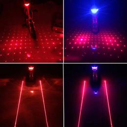 2019 luces de advertencia de alarma 2 Laser + 5 LED Ciclismo Bicicleta Bicicleta Luz trasera Advertencia de seguridad Parpadeo Alarma Tija de sillín Luz de precaución Alerta Parpadeo Rayos con soporte de montaje luces de advertencia de alarma baratos