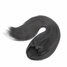 Clip pferdeschwanz online-Kunsthaar Pferdeschwanz Haarteile Clip in 24-Zoll-Yaki glattes Haar 100g Kordelzug Pferdeschwanz Haarverlängerung für schwarze Frauen
