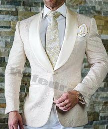 costumes floraux personnalisés Promotion Crème Blanc Hommes Costumes De Mariage Tuxedos Suit Dîner De Bal Parti Groomsman Blazers Imprimé Floral Revers One Piece Veste Custom Made