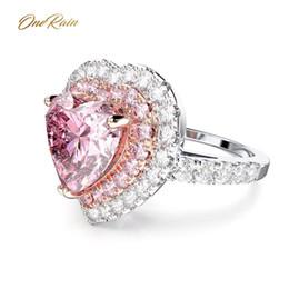 2019 cuori al quarzo all'ingrosso OneRain Rmantic100% argento sterling 925 amore cuore rosa quarzo diamanti nozze impegno per le donne anello gioielli all'ingrosso sconti cuori al quarzo all'ingrosso