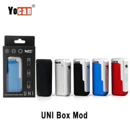 visualizza la variabile Sconti Autentico Yocan UNI Box Mod Batteria 650mAh Preriscaldamento portatile universale VV Batteria per 510 filo spessa Cartuccia di olio Mod sigaretta elettronica