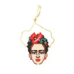 Mexikanischen charme armbänder online-Frida Kahlo Figur Armbänder Gruß Mexikanische Malerin Miyuki Rocailles Armbänder Vergoldete Kette Farbe bewahren Handgemachten Schmuck