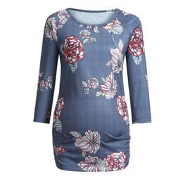 Canada Vêtements de maternité Vêtements enceintes Femmes de maternité Floral Imprimé à manches longues Top T-Shirt de maternité Tops ropa embarazada D05 cheap floral long tops Offre