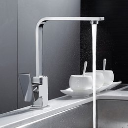 square sinks Promo Codes - Chrome Square Kitchen Faucet Modern Filter Water Sink Mono Bloc Single Lever Cold and Hot Brass Faucet Swivel Spout Mixer Tap
