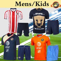 2019 define uniformes futebol homens Chivas Club América UNAM Mens Crianças Kit 2019 Camisa de Futebol Crianças Menino Juventude Futebol Uniformes Definir Mais 10 pcs Livre DHL grátis define uniformes futebol homens barato