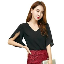 Blusa suelta de mariposa online-La camisa de la gasa atractiva de las mujeres con cuello en V blusa holgada blusa de la manga de la mariposa de las mujeres de moda de la manga de Split sin respaldo Top ropa de oficina