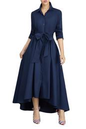 Élégant Irrégulier Longue Chemise Dress Turn Down Col Manches Longues Taille Haute Maxi Office Lady Robes À Lacets Bandage Chemise Robe ? partir de fabricateur