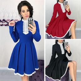 casual inverno laço vintage vestidos Desconto 2018 Outono Inverno Novo Estilo Mulheres Manga Longa Patchwork Lace Vestido de Moda Casual Lace Crochet A Linha Mini Vestidos