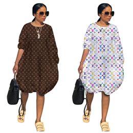 vestidos de fiesta midi Rebajas Diseñador de lujo Vestido de mujer Manga larga O-cuello Vestidos a media pierna Falda de una pieza impresa Vestido de fiesta Club Vestidos de playa Traje Ropa 2XL