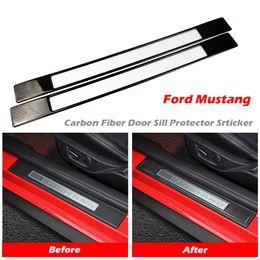 2019 carro dakar Kipalm Mustang 2015-2019 Carbon Fiber Protector do peitoril da porta Etiqueta para a Ford Mustang soleira da porta Guards Etiqueta Mustang Acessórios