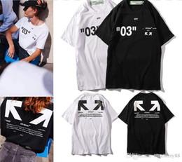 19ss Primavera para hombres diseñadores camisetas Letra Flecha Pintura camiseta para mujer Línea blanca complejo 03 camisetas Cuello redondo hip hop top tees desde fabricantes