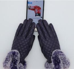 меховые варежки Скидка Зима на открытом воздухе теплые перчатки перчатки женские мужчины меховая кожа пять пальцев перчатки сплошной цвет варежки женские мужские подарок