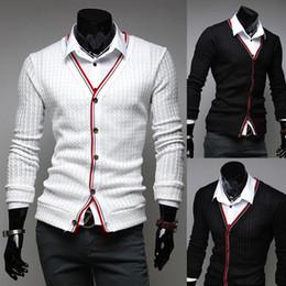 2019 cardigans elegantes dos homens Mens Elegante Cardigan Sweater Knit  Wear Casual Magro Tricô Camisas Preto f950e7c7d