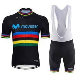 Jerseys de ciclo de verão on-line-2019 black branco movistar ciclismo clothing bicicleta jersey quick dry bicicleta roupas mens verão equipe ciclismo jersey 9d calções de bicicleta conjunto