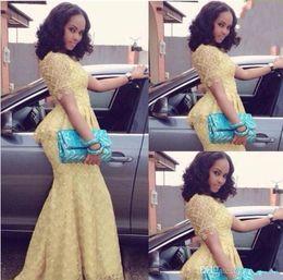 laço de estilo de moda africana Desconto 2019 Nova Moda Africano Vestido Longo O Pescoço Sereia de Manga Curta Até O Chão vestido de baile Amarelo Rendas Elegante Estilo Nigéria Vestidos 1105