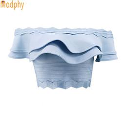 Canada Vêtements pour femmes d'été Sexy Busty Rayon Mini Volants Élastique Stretch Bandage Top De L'épaule Drop Shipping Hl214 Y19042801 cheap elastic stretch ruffle Offre