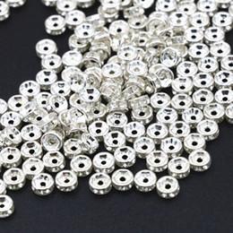 Perlas de plata rondelle online-Venta al por mayor de plata de color Crystal Rhinestone 6 mm 8 mm 10 mm Rondelle Spacer Beads 100 unids / pack joyería Makings encontrar accesorios A86