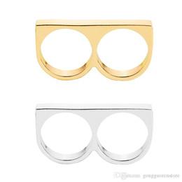 2020 articolazioni in ottone per le donne Punk Women / Men Two Fingers Rings Personality Hip Hop in acciaio inox Knuckles gioielli anello di moda sconti articolazioni in ottone per le donne