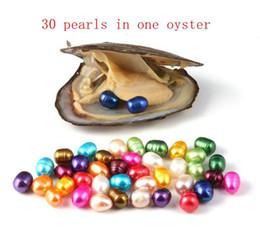 laborlicht Rabatt Natürliche Perlenperlen-Austern mit 30pcs 6-7mm ovalen Perlen / Austerninnere (Farbe gemischt 15) durch Vakuumverpackung Perle Party Geschenk