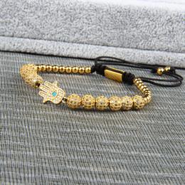 2019 palla intrecciata Nuovo braccialetto di lusso uomini e donne Hamsa intrecciare il braccialetto all'ingrosso 6mm Cz palla perline gioielli in acciaio inossidabile di alta qualità palla intrecciata economici