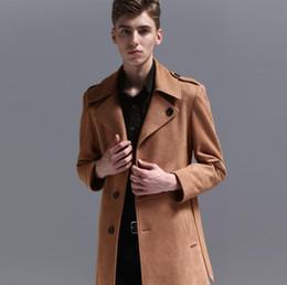 Gabardinas de cuero marrón online-Abrigos de trinchera de cuero para hombre hombre abrigo largo ropa de un solo pecho abrigo ajustado manga larga 2019 nuevo diseñador marrón 6XL