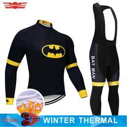 pantaloni termici di ciclismo del pile morbido Sconti 2019 Batman Winter Cycling Jersey 9D Pantaloni Set MTB Bicycle Abbigliamento Uomo Ropa Ciclismo Thermal Fleece Bike Jacket Abbigliamento da ciclismo