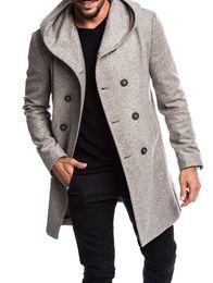 mens di cappotto incappucciato a lana singola Sconti ZOGAA 2019 New Winter Fashion Uomo Tinta unita doppio petto cappotto maschile Slim Fit maschile lungo cappotto di panno di lana standard