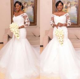 Vestidos de novia africanos de talla grande más 3/4 mangas Vestidos de boda elegantes de la vendimia Vestidos de novia de encaje Vestido de novia a medida desde fabricantes