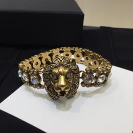 Mens gold lion kopf armband online-Luxus Designer Schmuck Frauen Armbänder Armband Designer Liebe Armband Herren Armbänder Löwenkopf voller Diamanten 2019 Luxus Mode Access