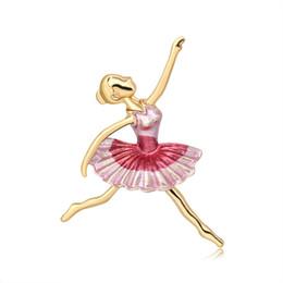 2020 alfiler de bailarina 2019 Broche de venta de los fabricantes nuevo temperamento de alto grado de la pintura de la bailarina broche del Pin del ramillete Joker Accesorios de ropa alfiler de bailarina baratos